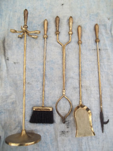 Brass Fireplace/Wood Stove Tools Set