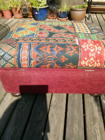 Sofa storage footstool seat with a Moroccan inspired seat fabric