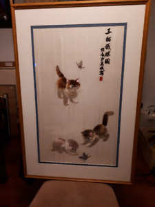 Large Chinese embroidered silk of playing kittens.
