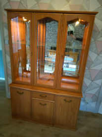 Reduced to clear, dinning room cabinet with storage and lighting