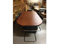 Used office board room table with 6 leather chairs