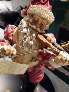 Vintage Collectible Musical Santa Fiddle Violin Music Box
