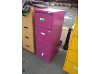 Bright coloured 4 drawer metal filing cabinets
