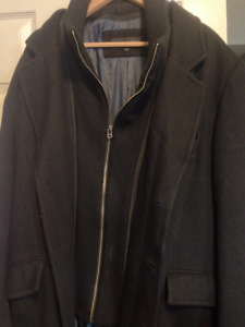 Men's Black 3/4 Length Coat
