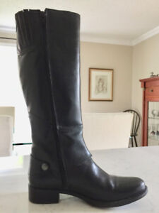 Ladies All Leather Black Boots - Size 7.5 - 8