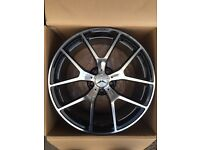 "BRAND NEW 19"" MERCEDES AMG BLACK EDITION ALLOY WHEELS- FITS C CLASS E CLASS S CLASS- C63 E55"