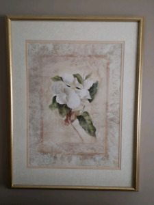 Flower painting and frame