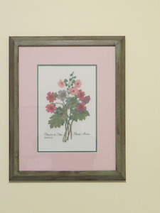 Framed Needlepoint picture - primulas