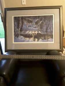 Wolf painting in wood Frame