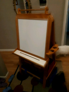 Solid wood chalk board and magnetic dry erase.