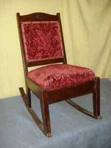 Childs Antique Wood and Fabric Rocker