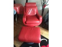 Red leather swivel chair and foot stool