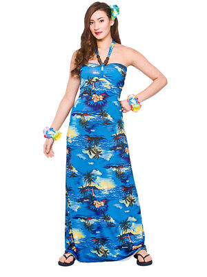 Ladies Hawaiian Maxi Dress Beach Party Blue Palm New Fancy Dress Summer Aloha
