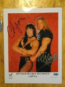 Rare TRIPLE H & CHYNA (RIP) Double Signed WWF Wrestling Photo