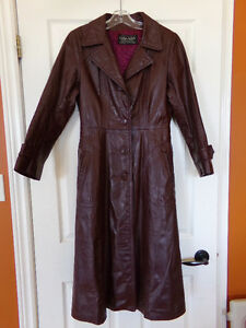 Ladies Long Leather Lined Coat