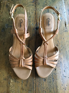 Clarks Bendables Wedge Sandals Leather