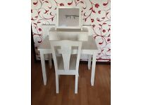 NEXT CHILDS WHITE WOODEN KSRGE DRESSING TABLE, MIRROR & CHAIR