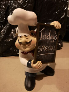 Accent Piece. Rustic Wooden Chef Man with Black/Chalk Board $25.