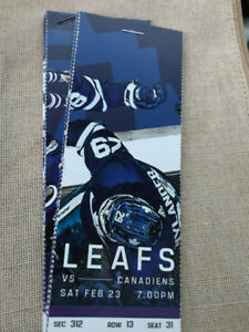 LEAFS TICKETS VS MONTREAL CANADIANS FOR CHRISTMAS  FEB 23
