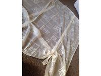 Ready made voile panel 48x54 cream tie blind net