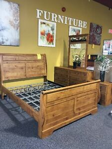 BRAND NEW SOLID PINE QUEEN SLEIGH BEDROOM SET $999