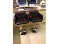 Jupiter chocolate brown faux leather breakfast bar stools