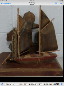Antique Hand Crafted wooden sail boat