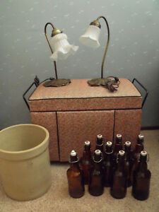 Crock, Bottles, Chest, Goose neck lamps....your pick