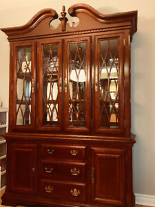 Solid wood antique display wall unit