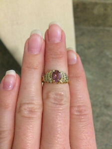 Gold with Pink Tourmaline Stone