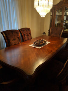 Dining room table chairs and cabinet