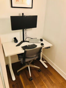 White electric sit/stand desk