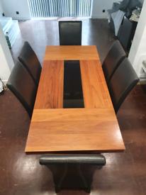DARK VENEERED DINING TABLE + 6 LEATHER CHAIRS