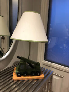 Child Table Lamp - Wood Boom Crane Truck