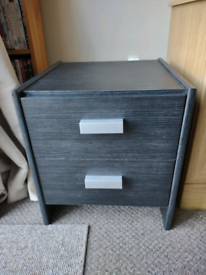 Bedside table Black silver handles