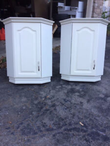 Two White Upper Cabinets