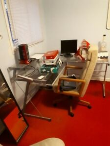 bunk bed and glass computer table