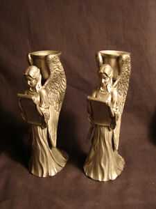 (2) Art Nouveau ANGEL Candle Holders 1990 SEAGULL Canada Pewter