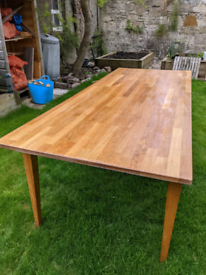 Solid oak dining table plus 2 chairs