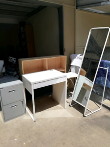 Bedhead, filing cabinet, stand up mirror, small desk- $10 each