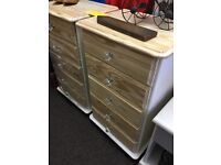 Shabby chic solid pine drawers (pair)