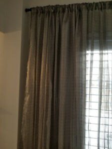 Six Panels Sheer Taupe Drapes with Shimmer