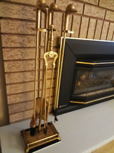 Solid Brass 5-Piece Fireplace Tool Set