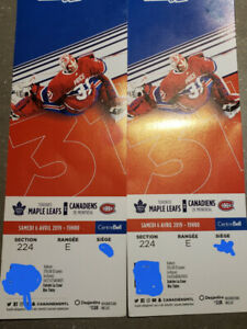 CANADIENS VS MAPLE LEAFS - CLUB DESJARDINS***500$ LES DEUX
