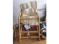Wooden Baby highchair (with seatpads)