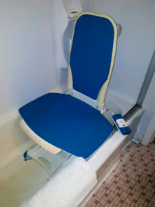 Elevator bath chair with battery operated remote control