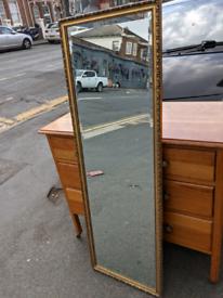 Gold surround bevelled large mirror