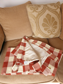 Terracota and cream Chequered tab top lined curtains