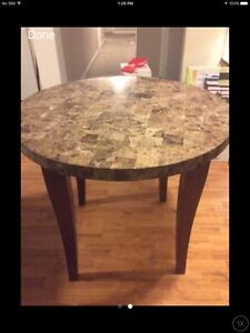 Round Marble table from The Brick