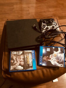 PS4 Slim 400Gig  with cds COD WW2 & FIFA 18 for sale